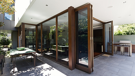 Brown aluminium bifold doors
