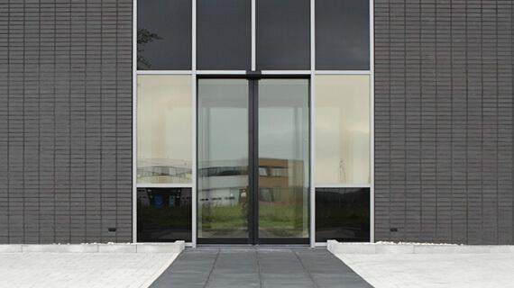 Black commercial aluminium entrance